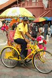 A decorated trishaw or tricycle rickshaw in historical Malacca or Melaka, Malaysia. Many of the heavily decorated cycle rickshaws Malay: beca equipped with sound royalty free stock photography