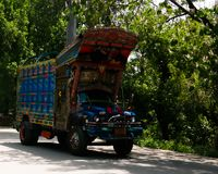 Decorated truck on the Karakoram highway, Pakistan stock images