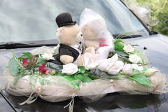 Decorated with two Teddy bears on wedding vehicle Stock Image
