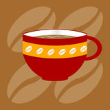 Decorated up of coffee over bronw background Stock Images