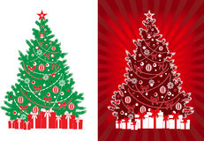 Decorated vector xmas tree with gifts Stock Image