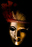 Decorated Venetian Mask. A venetian mask decorated with feathers and stars isolated against a black background Royalty Free Stock Images