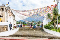 Decorated village church & Agua volcano, Guatemala royalty free stock photo