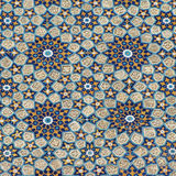 Decorated wall. Geometric decoration on ceramic wall stock images