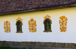 Decorated wall of an old traditional Ukrainian house Stock Images