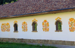 Decorated wall of old traditional Ukrainian house Royalty Free Stock Photos