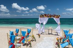 Decorated wedding arch on Puka beach at Boracay island Philippin. Decorated wedding arch on Puka beach of Boracay island Philippines Royalty Free Stock Images