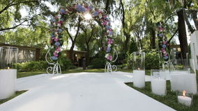 Decorated wedding arch sun stock video footage