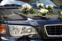 Decorated wedding car Royalty Free Stock Image