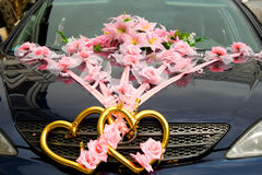 The decorated wedding car. Royalty Free Stock Photos