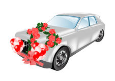Decorated wedding car Stock Images