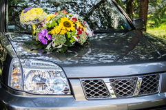 Decorated wedding car Royalty Free Stock Photography