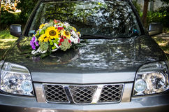 Decorated wedding car Royalty Free Stock Photo