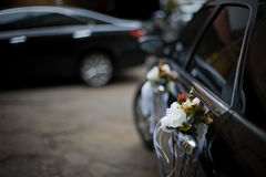 Decorated Wedding Car. Luxury wedding car decorated with flowers Royalty Free Stock Images