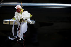 Decorated Wedding Car. Luxury wedding car decorated with flowers Stock Image