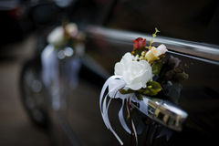 Decorated Wedding Car. Luxury wedding car decorated with flowers Royalty Free Stock Photography