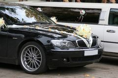 Decorated wedding cars. On a wedding day Royalty Free Stock Images
