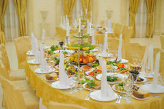 Decorated wedding dinner table Stock Images