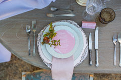 Decorated for wedding elegant dinner table Stock Photos