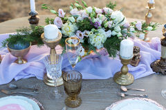 Decorated for wedding elegant dinner table Stock Images
