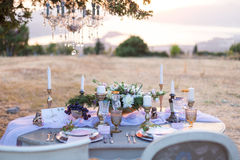 Decorated for wedding elegant dinner table Royalty Free Stock Images