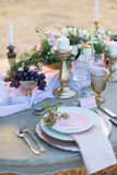 Decorated for wedding elegant dinner table Royalty Free Stock Photo