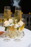 Decorated wedding glasses with champagne Royalty Free Stock Photos