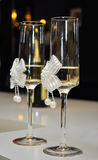 Decorated wedding glasses with champagne Stock Photo