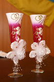 Decorated wedding glasses with champagne Royalty Free Stock Photo