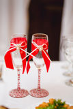 Decorated Wedding glasses Stock Images