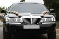Decorated wedding limousine from the front Stock Image