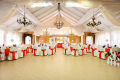 Decorated wedding restaurant in Christmas style Royalty Free Stock Photography