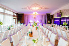 Decorated wedding restaurant  with flowers Royalty Free Stock Photography