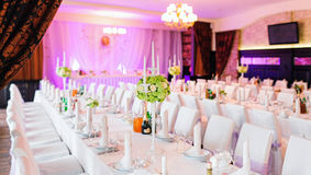 Decorated wedding restaurant  with flowers Stock Image