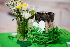 Decorated wedding table and flowers Royalty Free Stock Photo