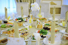 Banquet Table. Decorated for wedding table at luxury restaurant Royalty Free Stock Photo