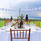 Decorated wedding table at reception beach resort Stock Photos