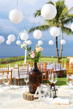 Decorated wedding table at reception beach resort Royalty Free Stock Image