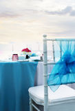 Decorated wedding table at reception beach resort Stock Image