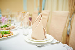 Decorated wedding table in a restaurant Stock Photo