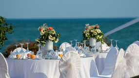 Decorated Wedding Table at the Seaside Royalty Free Stock Images