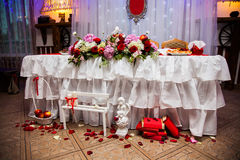 Decorated wedding table, wedding souvenirs, wedding flowers stock photos