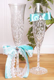 Decorated weddng glasses Royalty Free Stock Image