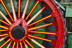 Decorated wheel of restored steam engine Royalty Free Stock Image