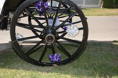 Decorated wheel for wedding Stock Photo