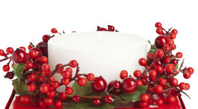 Decorated White Candle. Isolated, White stock photography