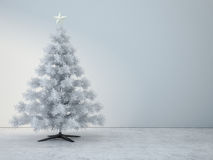 Decorated white christmas tree in white room Royalty Free Stock Image