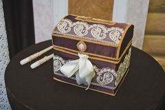 Treasure chest for gifts and jewelry 8927. Royalty Free Stock Image