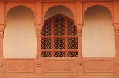 A decorated window in Bikaner. A decorated window forms part of a facade of a building in Bikaner, India royalty free stock photos