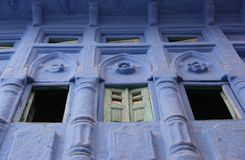 A decorated window in Jodhpur. A decorated window forms part of the facade of a building in the city of Jodhpur, India royalty free stock image